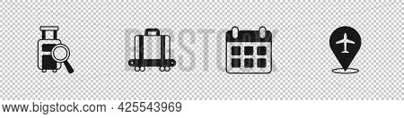 Set Lost Baggage, Conveyor Belt With Suitcase, Calendar And Airplane And Plane Icon. Vector