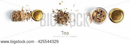 Transparent Jar With Herbal Tea On White Background.
