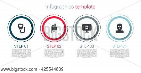 Set Walkie Talkie, , Police Badge And Thief Mask. Business Infographic Template. Vector