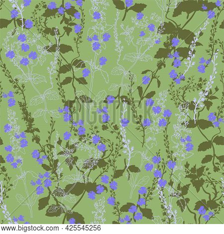 Sensual Summer Wildflowers And Grasses In Flat Style On Light Green Background. Colored Floral Seaml