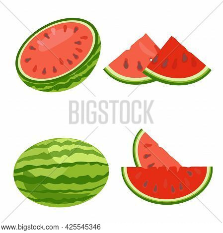 Set Watermelon. Whole Berries, Half And Cut Into Wedges. Vector Illustration