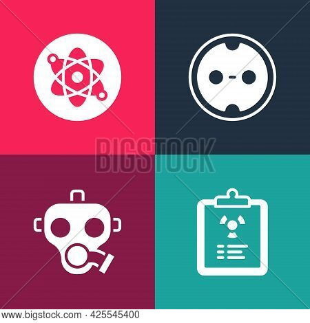 Set Pop Art Radiation Warning Document, Gas Mask, Electrical Outlet And Atom Icon. Vector