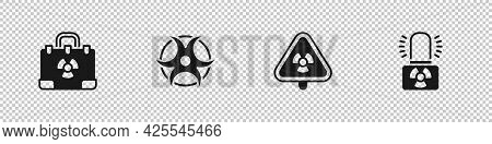 Set Radiation Nuclear Suitcase, Biohazard Symbol, Triangle With Radiation And Radioactive Warning La
