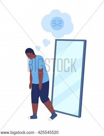 Obese Teenager Boy Semi Flat Color Vector Character. Walking Figure. Full Body Person On White. Teen