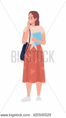 Laughing Teen Girl Student Semi Flat Color Vector Character. Standing Figure. Full Body Person On Wh