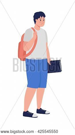 Upset Male Student Semi Flat Color Vector Character. Standing Figure. Full Body Person On White. Tee