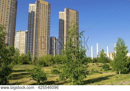 Nur-sultan - Kazakhstan: June 10, 2021: View Of Residential Complex Highvill And Mosque Hazret Sulta