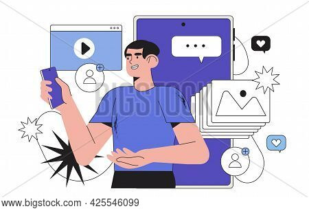 Young Man Look At Smartphone Screen And Chatting, Reffering A Friend Or Presenting New Application O
