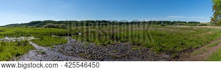 Panorama Of River And Heath Landscape In Rebild National Park In Northern Denmark