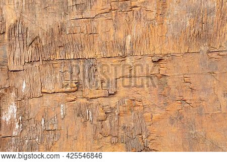 Old Texture Of Brown Wood Painted Surface With Cracks