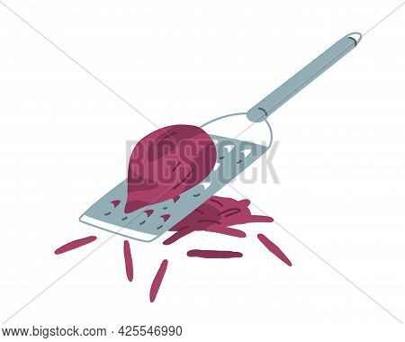 Vegetable Grating With Metal Hand Grater. Preparing Beet Ingredient For Cooking, Shredding It Into S