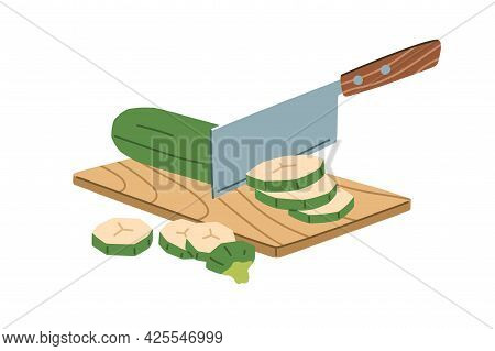 Process Of Chopping Zucchini Into Ring Slices With Metal Chopper Knife On Wood Board. Cutting Fresh