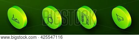 Set Isometric Line Bumper Car, Circus Fire Hoop, Curtain Raises And Cannon Icon. Vector