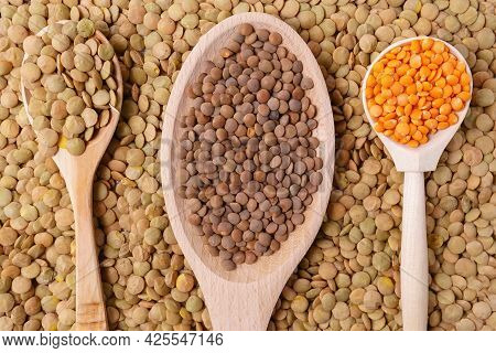 Uncooked Lentils Background Texture. The View From The Top. Healthy And Healthy Food