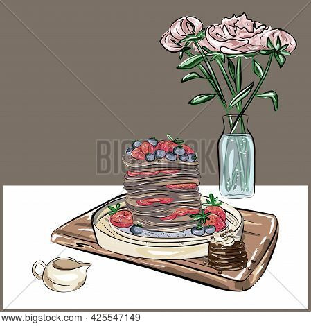 Still Life Of Pancakes, A Tray, A Bouquet Of Flowers And A Jug, A Gravy Boat. Proper Nutrition, Vega