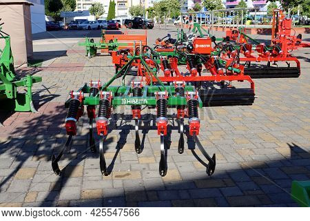Torres Vedras, Portugal - June 2021: Hibema Vibro Cultivator At The Agricultural Machinery Fair.