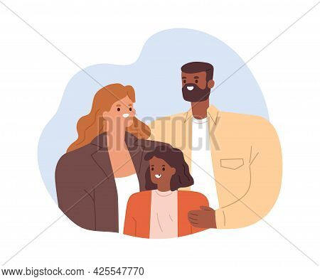 Portrait Of Happy Mixed-race Family. Smiling Parents And Child. Multiracial Mom And Dad Together Wit