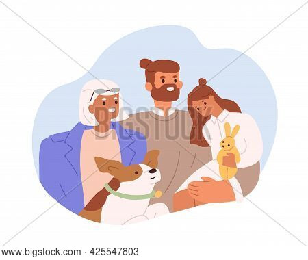 Portrait Of Happy Family With Grandmother, Adult Son And Grandchild. Smiling Grandma, Father And Dau