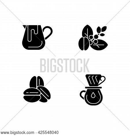 Coffee Preparation Black Glyph Icons Set On White Space. Milk Pitcher For Barista. Raw Beans. Roaste