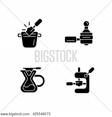 Coffee Shop Tools Black Glyph Icons Set On White Space. Knock Box For Ground Waste. Tamping Coffee I