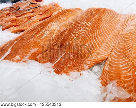 Pieces Of Red Fish On The Counter In The Store.