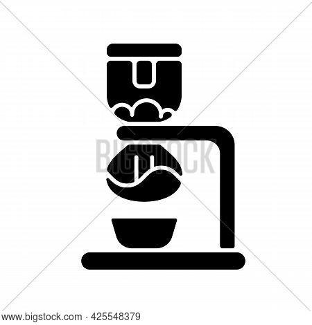 Syphon Coffee Maker Black Glyph Icon. Vacuum Brewer. Siphon For Preparing Espresso. Coffee Shop Equi