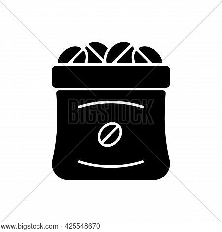 Coffee Sacks Black Glyph Icon. Roasted Beans In Bag For Commercial Production. Product For Espresso