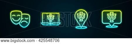 Set Line Comedy And Tragedy Masks, Psychologist Online, Psychology, Psi And . Glowing Neon Icon. Vec