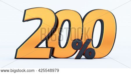 Two Hundred 200% Off On Sale. Gold Percent Isolated On White Background. 3d Render Of A Gold  Two Hu