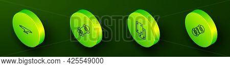 Set Isometric Line Skateboard Wheel, Longboard Or Skateboard, Knee Pads And Broken Icon. Vector