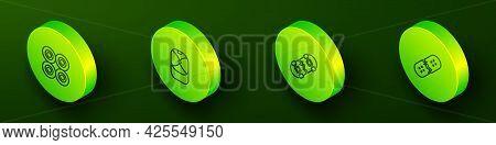 Set Isometric Line Skateboard Wheel, Baseball Cap, Broken Skateboard And Deck Icon. Vector
