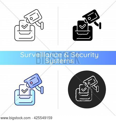 Video Election Observation Icon. Monitoring Polling Stations. Electoral Fraud Prevention. Democracy