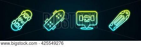 Set Line Broken Skateboard, Skateboard, Wheel And Deck. Glowing Neon Icon. Vector