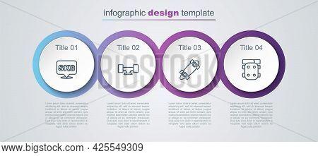 Set Line Skateboard, Wheel, Longboard Or Skateboard And Knee Pads. Business Infographic Template. Ve