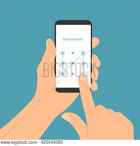 Flat Design Illustration Of A Man's Hand Holding A Smartphone With A Login Screen And Entering A Gra