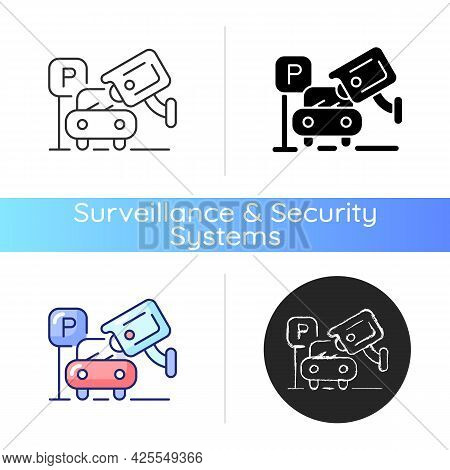 Hijacking Prevention With Security Camera Footage Icon. Anti-hijack System For Vehicles. Increasing