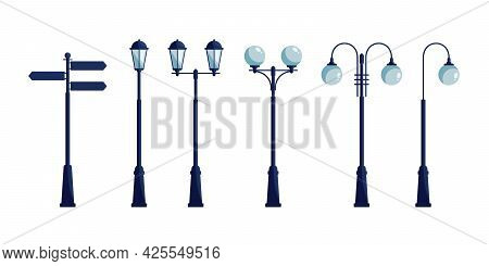 Street Lights. Set Of Street Lamps And Street Signpost