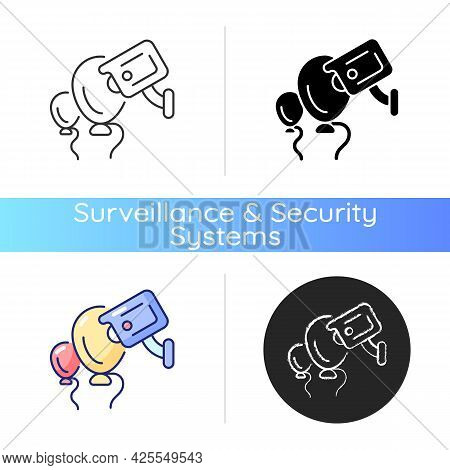 Event Security With Wireless Camera Icon. Surveillance Technology For Large Concerts And Public Even