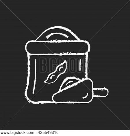 Kinako Chalk White Icon On Dark Background. Healthy Soybeans Flour. Organic Meals Ingredients. Veget