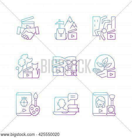 Video Content Gradient Linear Vector Icons Set. Business To Business Service. Entertainment Content.