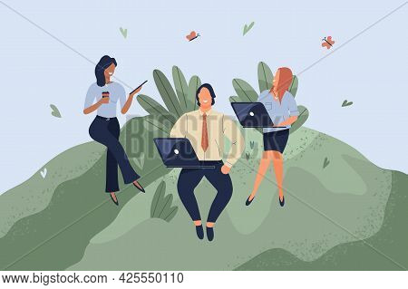 Office Workers Sitting On Green Lawn. Concept Of Good Comfortable Environment At Work, Favorable Psy
