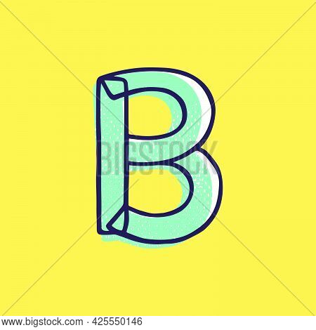 Kid Style Letter B Logo Hand-drawn With A Marker With Paint Shift Effect. Vector Cartoon Typeface Fo