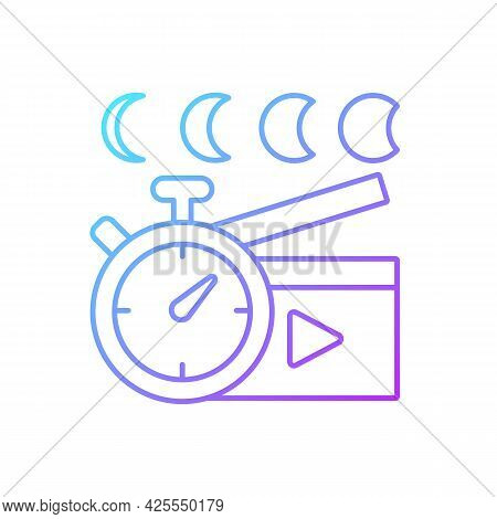 Time Lapse Videos Gradient Linear Vector Icon. Shooting Footage Over Night. Clock With Time Passing