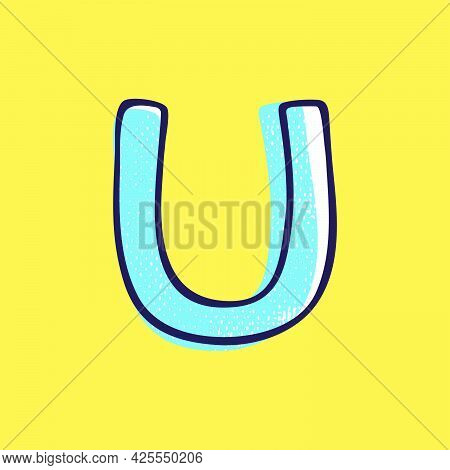 Kid Style Letter U Logo Hand-drawn With A Marker With Paint Shift Effect. Vector Cartoon Typeface Fo