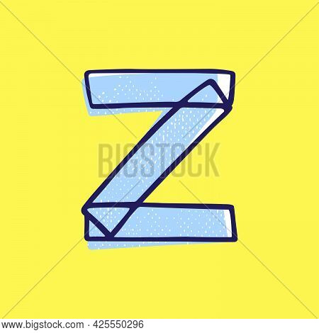 Kid Style Letter Z Logo Hand-drawn With A Marker With Paint Shift Effect. Vector Cartoon Typeface Fo