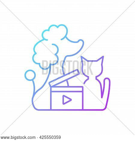 Pet Videos Gradient Linear Vector Icon. Online Content With Domestic Animals. Cats And Dogs Vlog. Wi