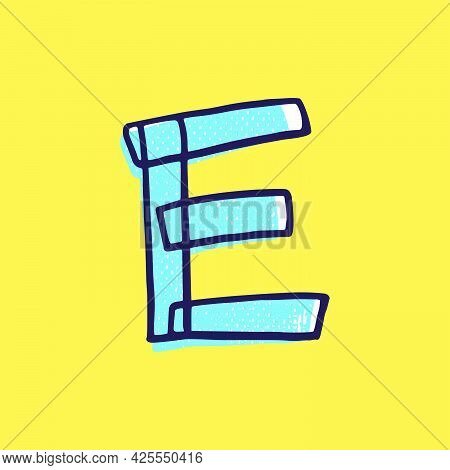 Kid Style Letter E Logo Hand-drawn With A Marker With Paint Shift Effect. Vector Cartoon Typeface Fo