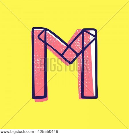 Kid Style Letter M Logo Hand-drawn With A Marker With Paint Shift Effect. Vector Cartoon Typeface Fo