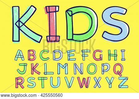Kid Style Alphabet Hand-drawn With A Marker With Paint Shift Effect. Vector Cartoon Typeface For Fun