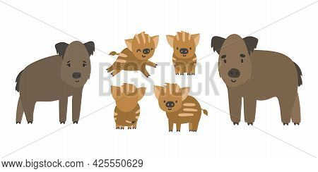 Cute Forest Boar And Piglets Family. Vector Cartoon Isolated Hand Drawn Set Of Animals, Illustration